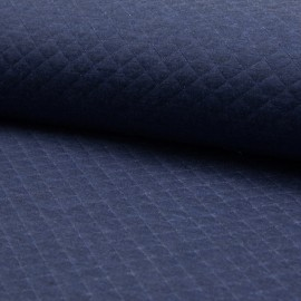 Quilted jersey fabric single-sided Diamond - Denim Blue x 10cm