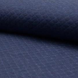 Tissu jersey matelassé simple face losanges - bleu jean x10cm