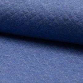 Tissu jersey matelassé simple face losanges - bleu jean clair x10cm