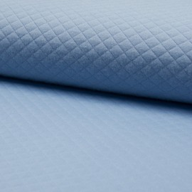 Quilted jersey fabric single-sided Diamond - Dusty Blue x 10cm