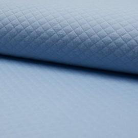 Tissu jersey matelassé simple face losanges - bleu gris x10cm