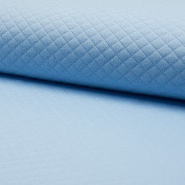 Quilted jersey fabric single-sided Diamond - light Blue x 10cm