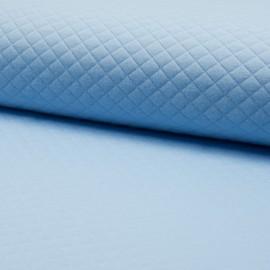 Tissu jersey matelassé simple face losanges - bleu layette x10cm