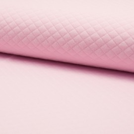 Quilted jersey fabric single-sided Diamond - light pink x 10cm