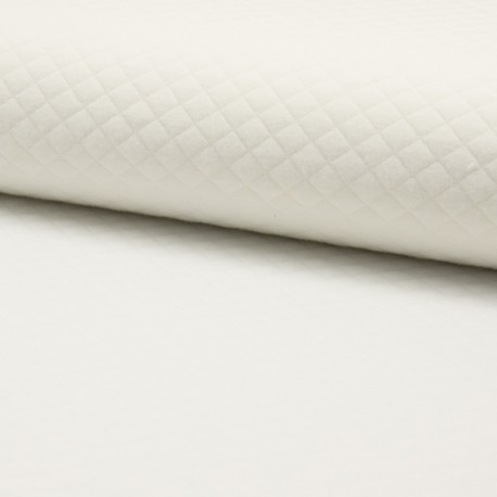 Quilted jersey fabric single-sided Diamond - raw x 10cm
