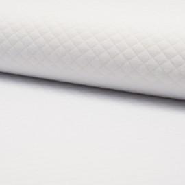 Tissu jersey matelassé simple face losanges - blanc optique x10cm