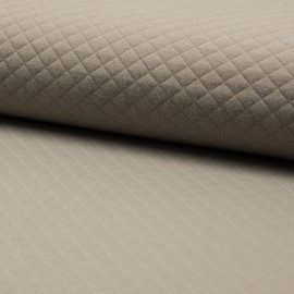 Quilted jersey fabric single-sided Diamond - Cappuccino x 10cm
