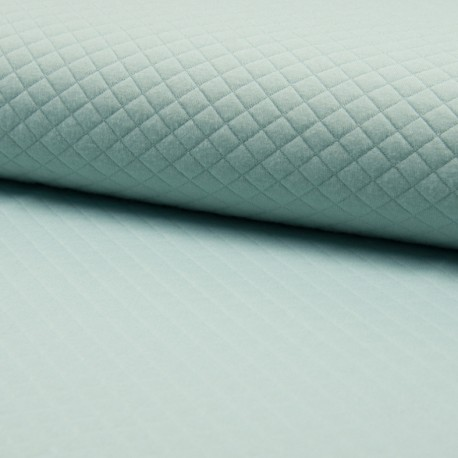 Quilted jersey fabric single-sided Diamond - mint green x 10cm