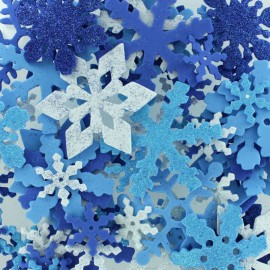 Set of EVA Foam SnowFlakes - Glitter Blue