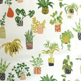 Coated cotton fabric - Off-White Jungle in pots x 35cm