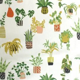 Tissu coton enduit Jungle in pots - écru x 35 cm