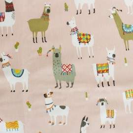 Coated cotton fabric - Mint green Llama and cie x 50cm