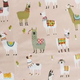 Tissu coton enduit mat Lama and cie - rose x 50cm