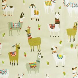 Tissu coton enduit mat Lama and cie - beige x 50cm