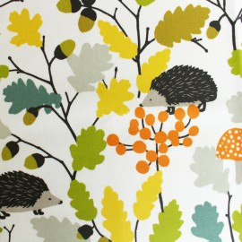 Matte Coated cotton fabric - green Autumn x 30cm