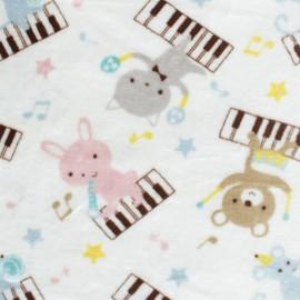 Tissu Doudou Music Friend - blanc x 10 cm