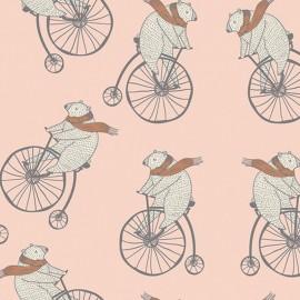 ♥ Coupon 10 cm X 110 cm ♥ Cotton fabric - Nude AGF Mr Penny Bubblegum