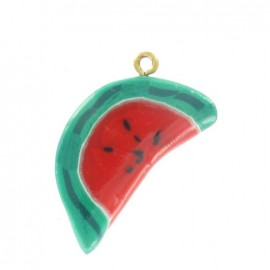 Fimo charm, half of a watermelon - red/green