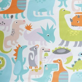Alexander Henry cotton fabric - white Dino-Mite x 10cm