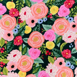 Cotton Steel Rayon fabric Rifle Paper - Navy Juliet Rose x 10cm