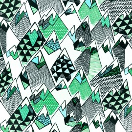 Blend Fabrics Cotton Fabric - white Forest mountain x 10cm