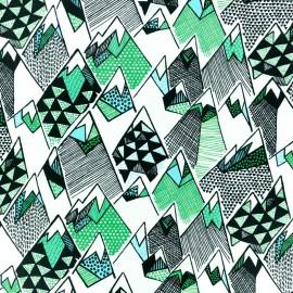 Tissu coton Blend fabrics Forest mountain  - blanc x 10cm