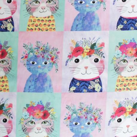 Tissu coton Blend fabrics Floral Pet - rose x 10cm