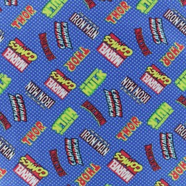 Camelot Cotton fabric - Blue Super hero logo x 10cm