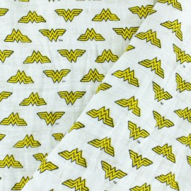 Double gauze Cotton fabric - White Wonder Woman x 10cm
