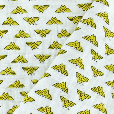 Double gauze Cotton fabric - White Wonder Woman x 10cm