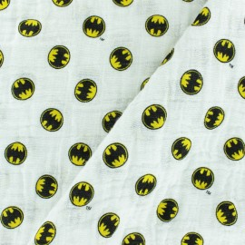 Double gauze Cotton fabric - White Batman x 10cm