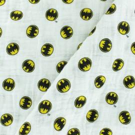 Tissu double gaze de coton Batman - Blanc x 10cm