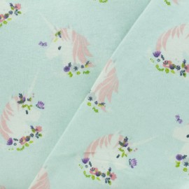 Flannel Fabric - Ice blue Unicorn x 10cm