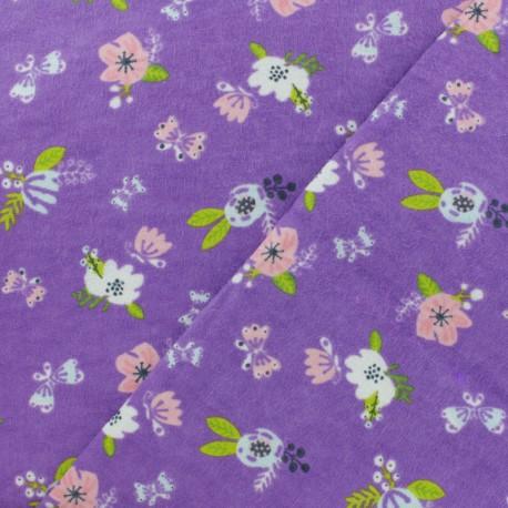Tissu Flanelle Jolies fleurs - violet x 10cm