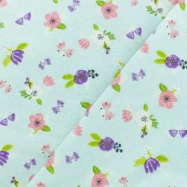 ♥ Coupon 180 cm X 110 cm ♥ Flannel Fabric - Ice blue Jolies fleurs