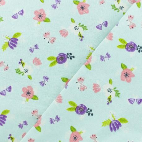 Tissu Flanelle Jolies fleurs - bleu glacier x 10cm