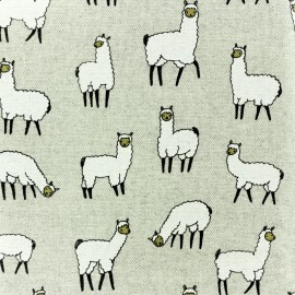 Coated Polycotton fabric - llama- natural x 10cm