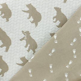 Double-sided cotton canvas fabric - brown Kokka Bear x  20cm