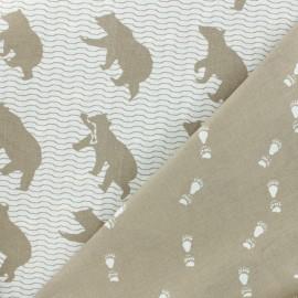 Tissu Toile de Coton Réversible Kokka Ours - marron x 20cm