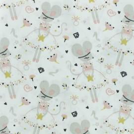 Tissu coton cretonne Corissou - blanc x 10cm