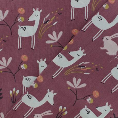 Tissu coton cretonne Faola - rose x 10cm