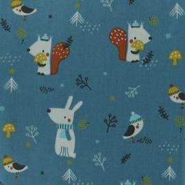 Tissu coton cretonne Woody -  bleu paonx 10cm
