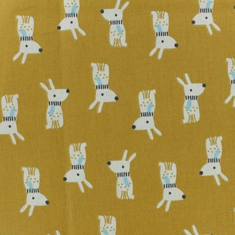 Tissu coton cretonne Melvil - moutarde x 10cm