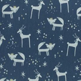 Tissu coton cretonne Danizz -  bleu marine x 10cm