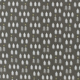 Tissu coton cretonne Pine tree - taupe x 10cm
