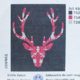 Toile Canevas 15 x 18 cm - Cerf Rouge
