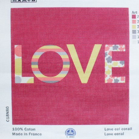 Toile Canevas 30 x 30 cm - Love Rouge