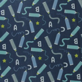 Cretonne cotton Fabric - navy blue danizz x 10cm