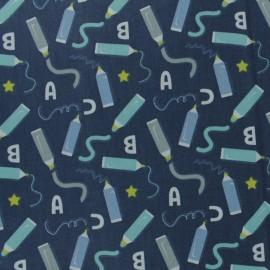 Tissu coton cretonne Marker - bleu marine x 10cm