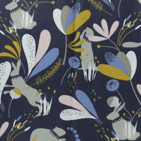 Tissu coton cretonne Lorena - bleu marine x 10cm